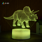 3D dinosaurus led night lamp with crack base,USB charging led light,Home decoration