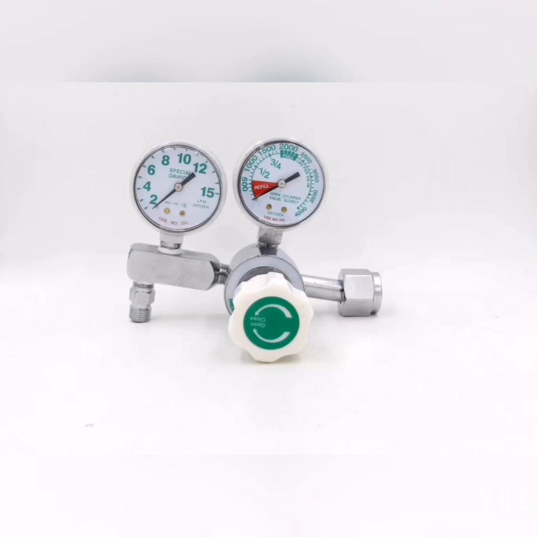 Double jauge réducteur de pression avec jauge de débitmètre régulateur d'oxygène médical