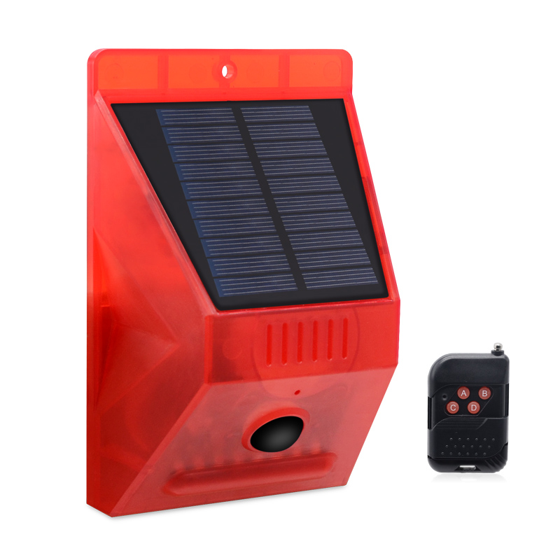 Wireless Solar Powered Motion Sensor Security Alarm Warning Light With Remote Control