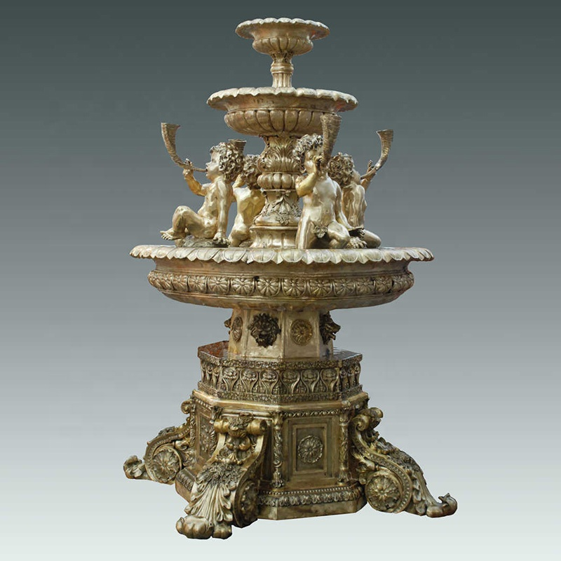 Hot sale antique design four boys large bronze water fountain for outdoor decoration