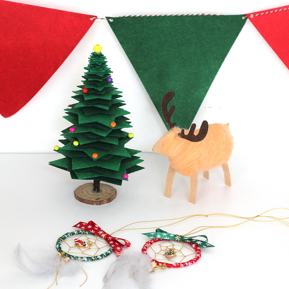 Christmas Ornaments Non-woven Fabrics Pennants Wood Beads Xmas Tree Wool Reindeer Dream Catchers Set Kit