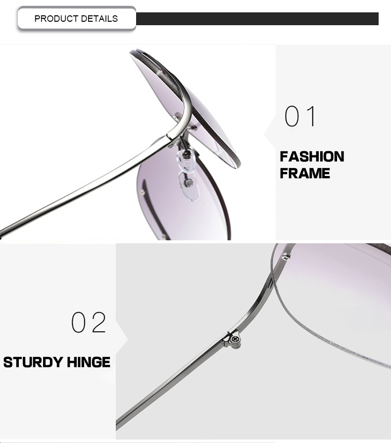 Luxury Rimless Gradient Oversized Round Brand Designer Women Eyewear