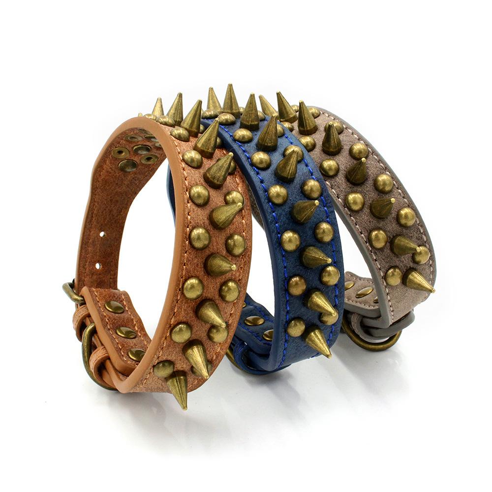 Bronze Anti-Bite Spiked Nail Collar Vintage PU Leather Fighting Dog Collar Neck Rivet Pet Collar