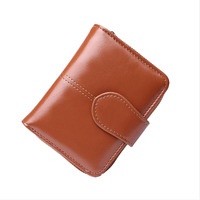 Brown Leather Wallet Womens Zipper And Hasp Short Wallet