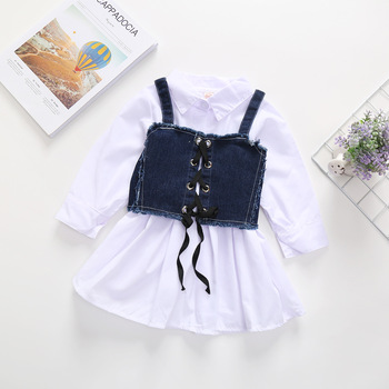Child clothes cotton wholesale clothing market with cartoon baby linen dress summer lovely dress in 2020