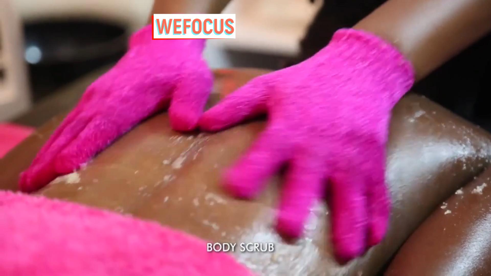 Fashion Body Scrub Exfoliating Alami Nilon Shower Mandi Sarung Tangan
