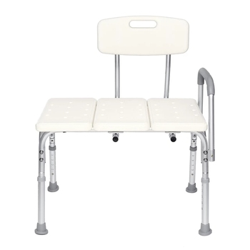 Elderly bathroom seat Plastic Tub Transfer Bench with Adjustable Backrest Adjustable Height anti-skid bath chair stool with Arms