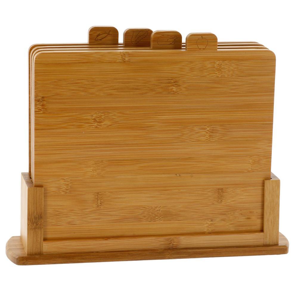 Tabla de cortar con índice de bambú, Juego de 4 piezas, tabla de cortar de madera Natural con soporte para pan, carne, pollo y pescado