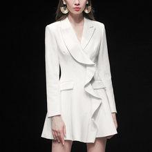 Женский подиумный костюм, роскошный высококачественный блейзер с длинным рукавом, элегантное дизайнерское приталенное мини-платье с рюшам...(Китай)