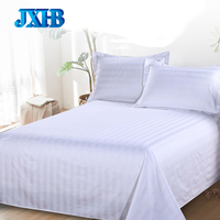100% Cotton White Satin Stripe Fabric Hotel Home Beijing Manufacturer Flat Bed Sheet