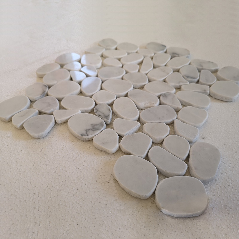 Australia Hot Sale Natural Marble Stone Irregular Round <strong>Pebble</strong> Jiangxi <strong>White</strong> Marble Mosaic Floor Wall <strong>Tiles</strong>