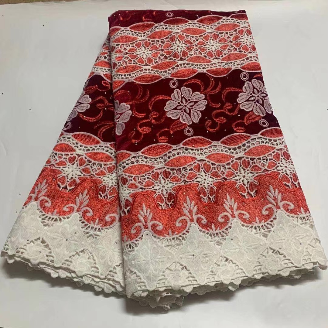 Mikemaycall Red Velvet tulle french lace fabrics applique Swiss sequins fabric with rhinestones made in China