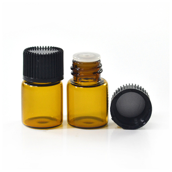 Wholesale cosmetic container 1ml 2ml 3ml 5ml mini sample amber glass vial with Inner plug and screw cap