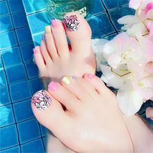 Французский квадратный поддельный носок ногти с дизайном Прозрачный телесный короткий пресс на накладные ногти для ног пластмассы Im пресс ...(Китай)