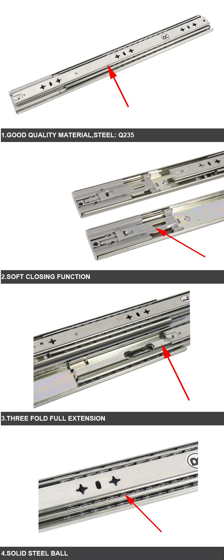 ball bearing plastic furniture drawer slides