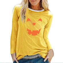 Женские футболки с длинными рукавами и принтом смайлика на Хэллоуин, осенне-зимняя футболка с графическим принтом, уличная футболка, Женска...(China)