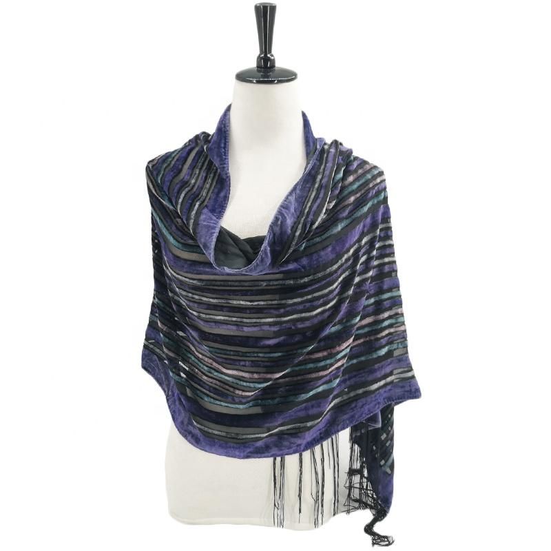 Black//Blue Elegant 100/% Silk Burnout Velvet Circle Art Oblong Scarf Wrap Shawl