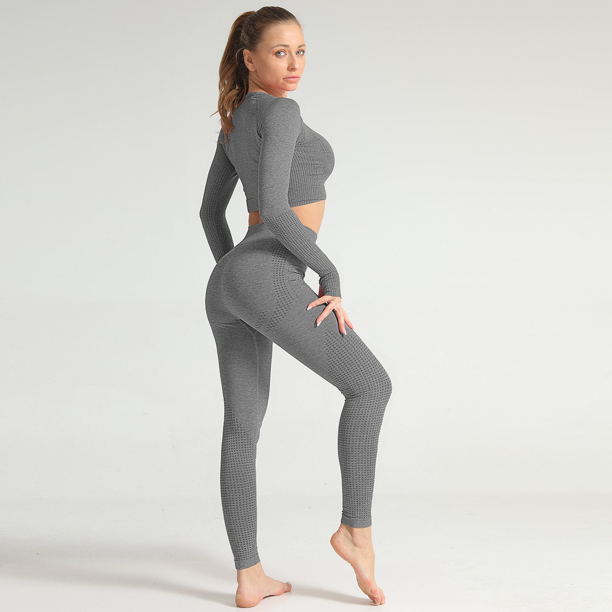 2020 Spring Summer Women Gymwear Seamless Bra Peach Butt Leggings Knitting  Yoga Set 3
