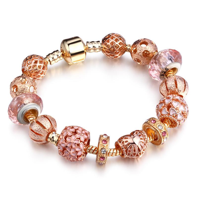 Gold Günstige Charm Herz Armband Beliebte Kristall Charm Armband Für Frauen