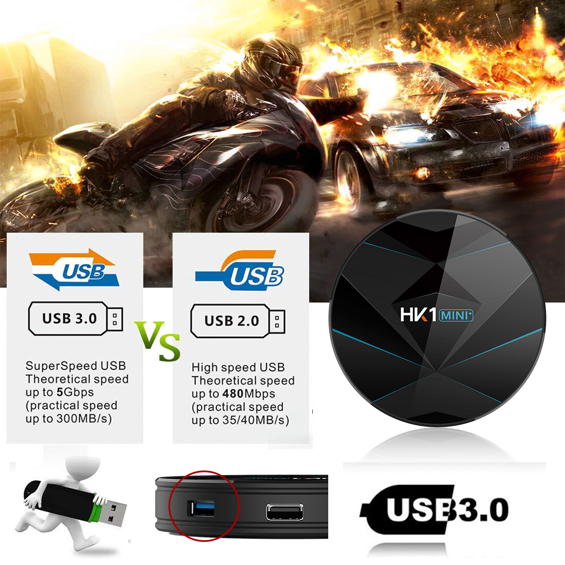 HK1 Mini 4G Ram 32GB ROM 4K HD Dual WIFI Android TV Box