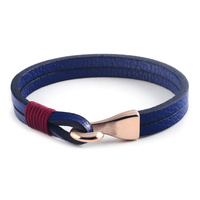 Hot Sell Fashion Jewelry Stainless Steel Genuine Braided Men Leather Bracelet