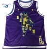 Custom sublimation tackle twill mesh basketball jersey men basketball top with knitted trim