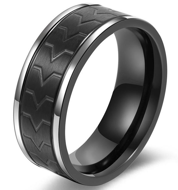 फैक्टरी क्लासिक विनिर्माण शीर्ष फैशनेबल 316L स्टेनलेस स्टील काले चढ़ाना शादी की सगाई बैंड अंगूठी SZ #7-12, दो शैलियों
