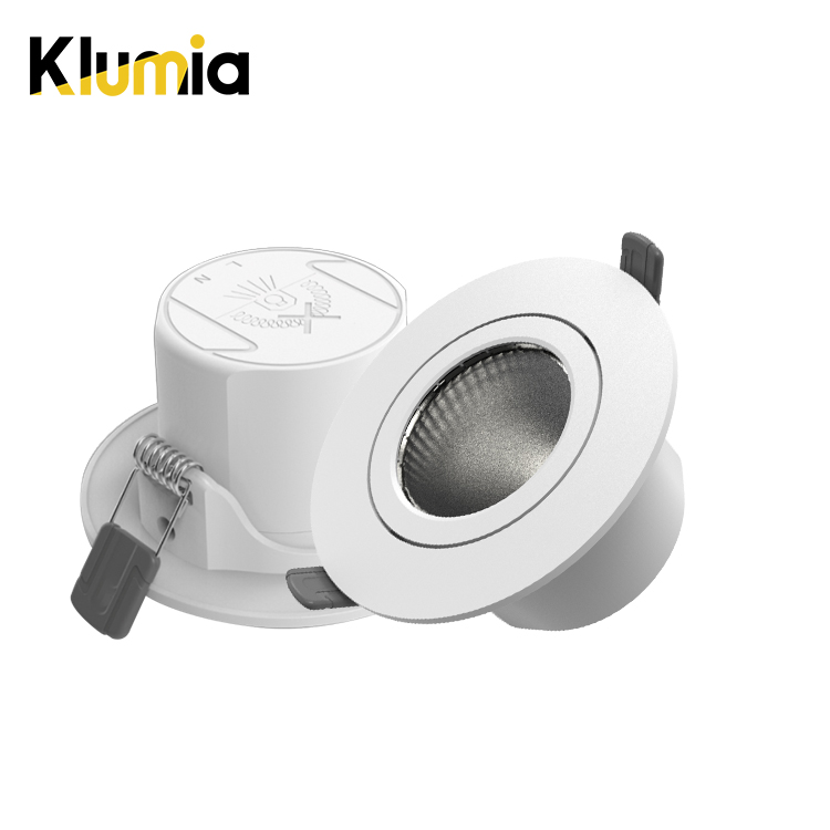 KLUMIA Hot selling PC adjustable degrees 3w 6w 9w indoor living room recessed led spot light