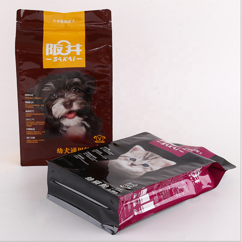 China Online Wholesale Shopping Zipper Flat bottom  Pouch Pet Food Ziplock Packaging Bag