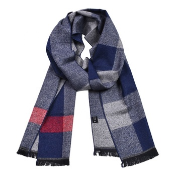 Factory Sale High Quality Long Tartan Neck Warm Scarves Winter Plaid Stripe Mens Fashionable Cashmere Tassel Scarf