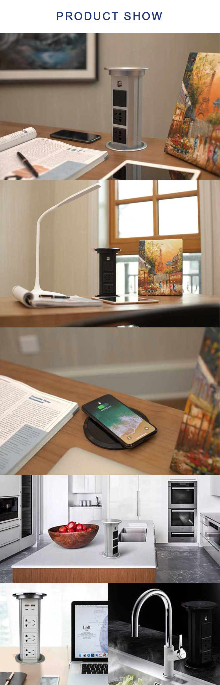 New style Qi wireless phone charger automatic lifting motorized pop up table socket