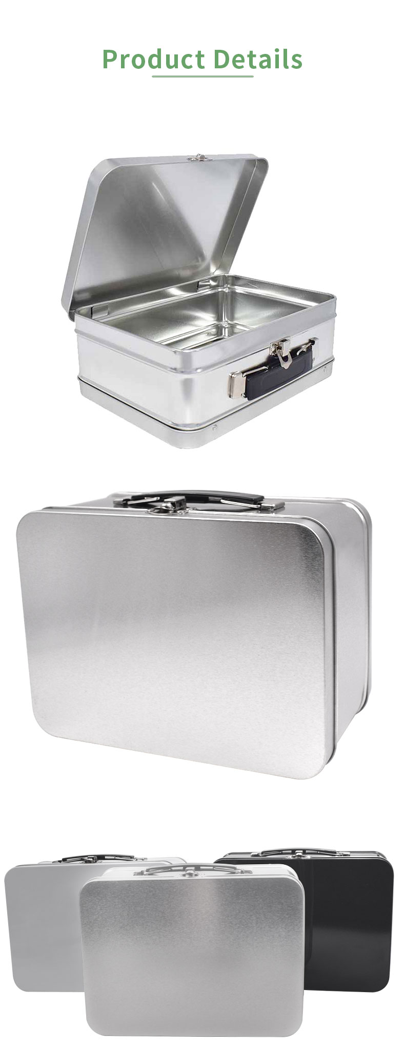 Cheap Blank Silver Tin Lunch Box With Handle