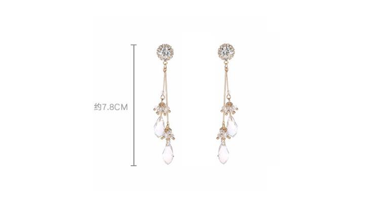 Korean Baroque Style Crystal tassels dripping New Fashion Luxury  Long Earrings  Women Pendientes Jewelry