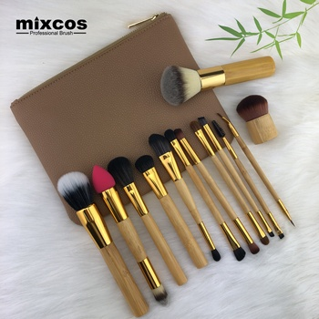 Natuurlijke Bamboe Make Up Brush Set Blush Kabuki Powder Facial Mini Wimper Wenkbrauw Lip Neus Cosmetische Gezichtsmasker Bamboe Make-Up borstel