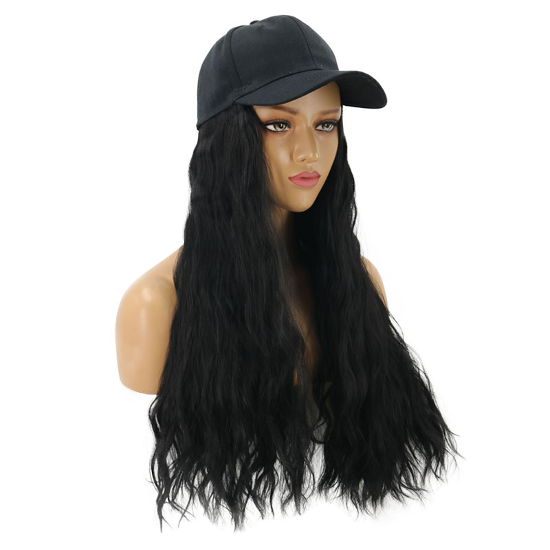 2020 new arrival black color 22'' popular fashion <strong>synthetic</strong> <strong>wig</strong> with a hat for young ladies