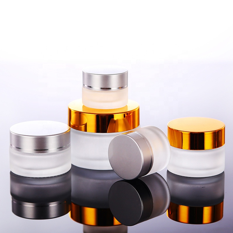 Empty face eye cream jar 30g 50g 100g frosted clear amber blue black cosmetic cream jar with black gold silver aluminum lid