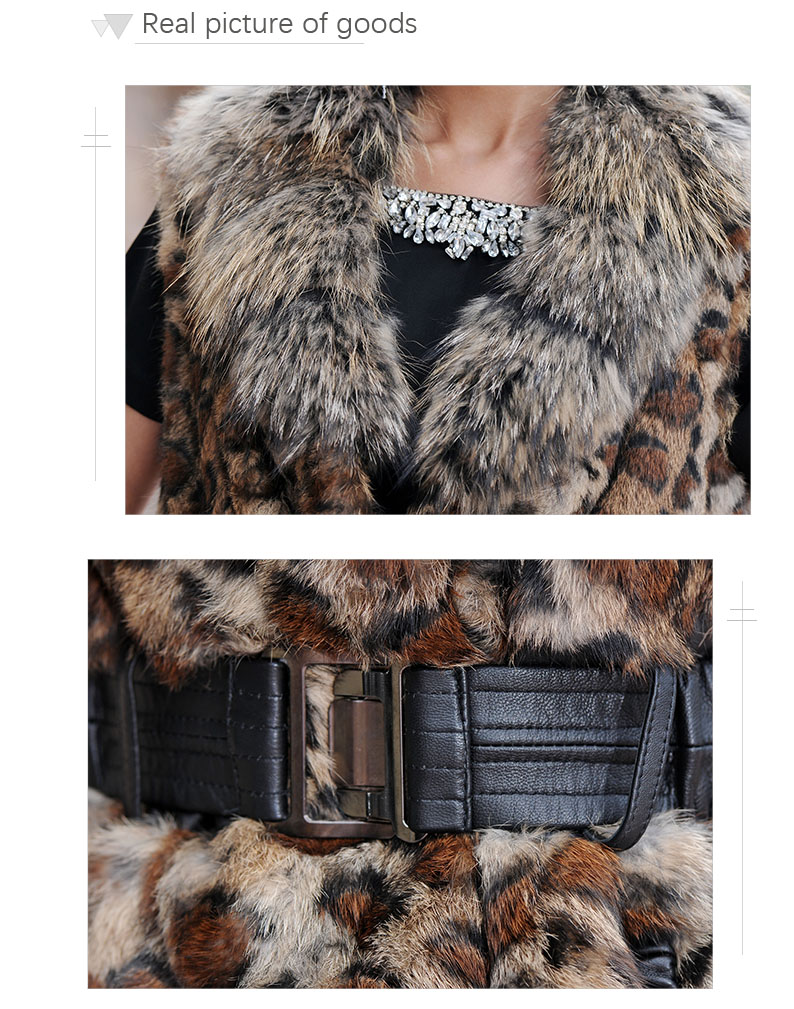 winter fashion belt rabbit fur vest women genuinet fur vest with raccoon collar