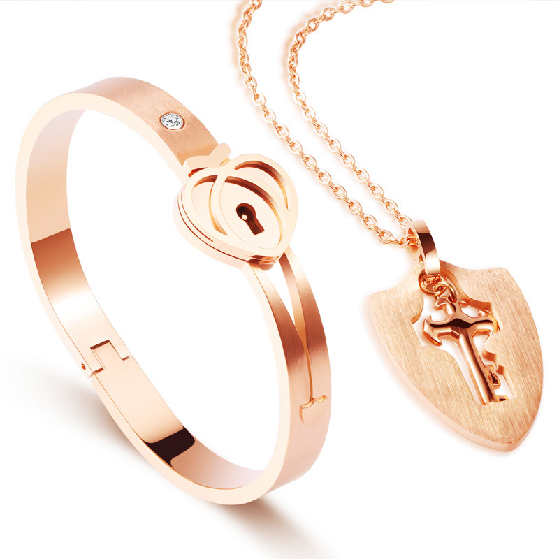 lucky jewelry 316L stainless steel Heart Lock bracelet key pendant necklace couple love Lock set