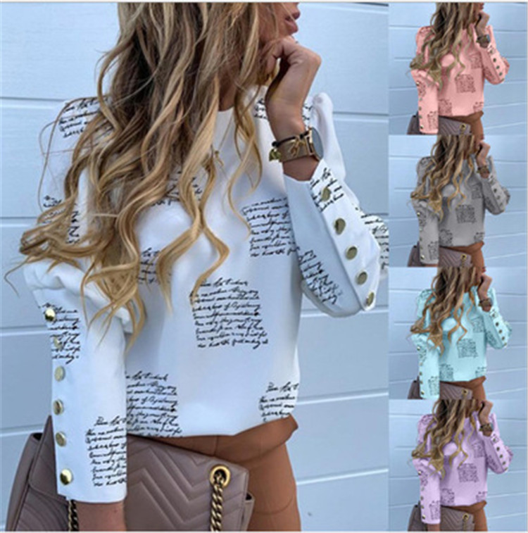 Trending 2020 Fashion Women's Tops Button Long Sleeve Print Lettering Shirt ladies%27+<strong>blouses</strong>
