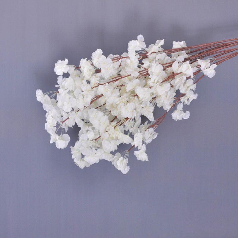 3 branch silk Sakura for wedding decoration Single layer of petals cherry blossom tree simulation plastic artificial flowers