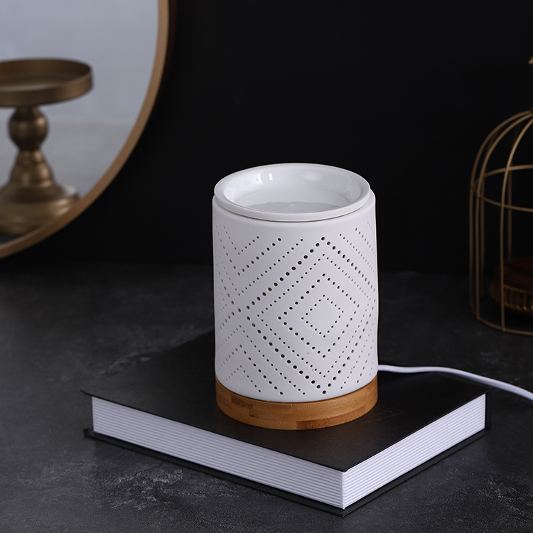 Modern nordic style home decor ornament ceramic incense burners light with bamboo base