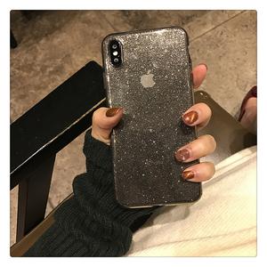 Transparent Soft TPU Phone Case For iPhone 11 Pro XR XS Max 8 7 Plus 6S TPU Shining Glitter Powder Black Shockproof Bling Back C