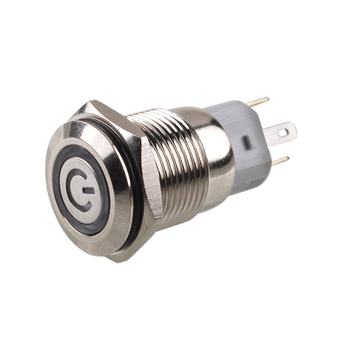 New 16mm Metal LED indicator push button switch Momentary/Latching Brass nickel plating chrome Car power ring NO NC