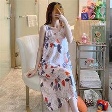 Новинка, ночная рубашка с цветочным принтом, женская сексуальная одежда для сна, модное Ночное платье на бретельках из вискозы и хлопка, тон...(Китай)
