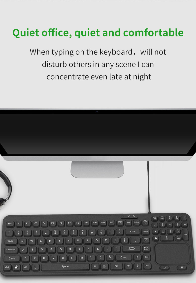 medical degree 100% waterproof and dust-proof silicone keyboard for hospital and industry