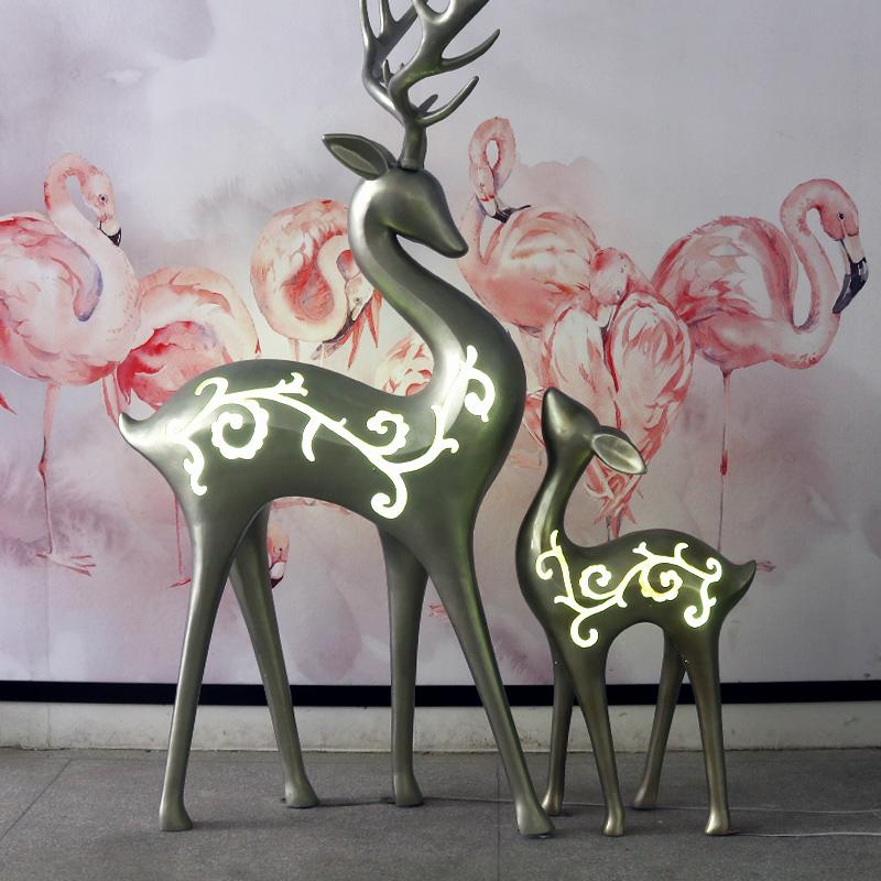 คริสต์มาสกลางแจ้งสวนสัตว์ประติมากรรมไฟเบอร์กลาสกวางสีขาวรูปปั้น