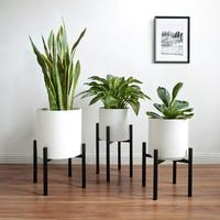 Plant Pot Home Cheap Artificial Indoor White Garden Wholesale Iron Metal Adjustable Stand Ceramic Planters & Flower Plant Pot