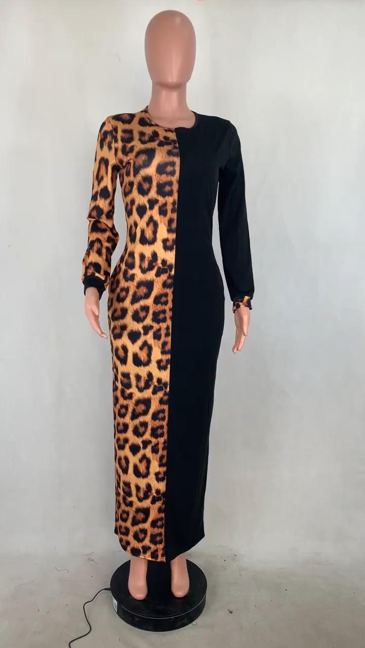 K0311 Fashionable Round Neck Fashion Leopard Print Maxi Length Long Sleeve Patchwork Casual Fashion Dress