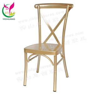 YC-A68-10 Hot Selling 2019 Stacking Cross Back Gold Wedding Chair