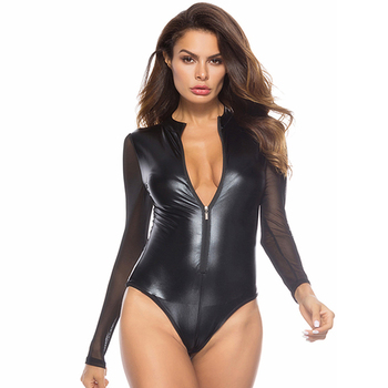 Wholesale One Piece Black Sexy Women Club Wear Latex Catsuit